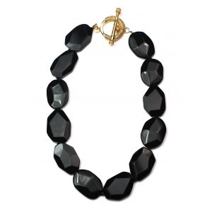 Black Hexagon Necklace-0