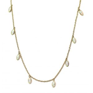 Opal Dangle Chain Necklace-0