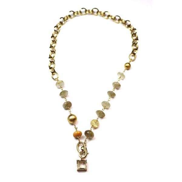 Chunky Rutilated Quartz Chain Necklace -0