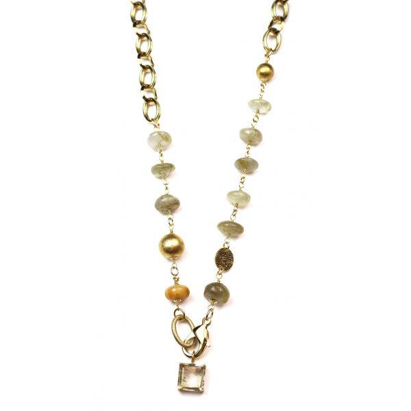 Chunky Rutilated Quartz Chain Necklace -3694