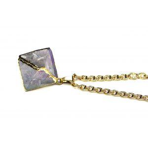 Lavender Geometric Prism Necklace-0