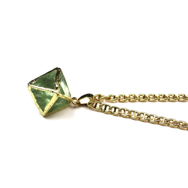 Green Geometric Prism Necklace-0