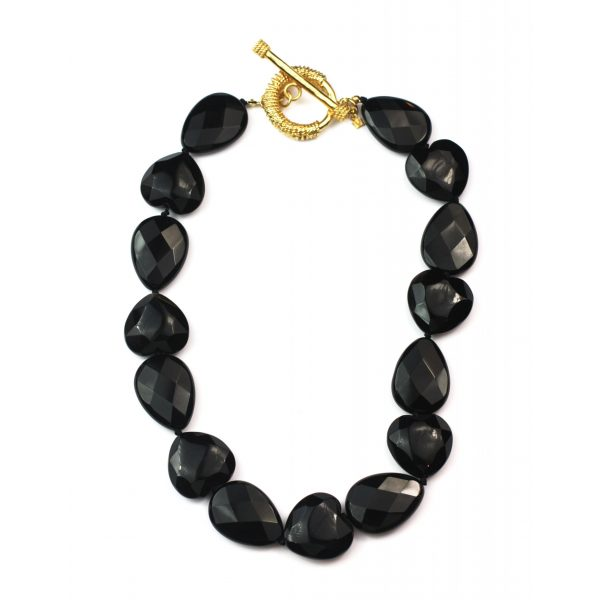 Black Teardrop Necklace-0