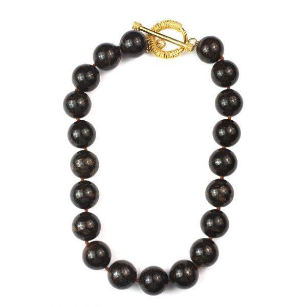 Round Brown Short Necklace-0