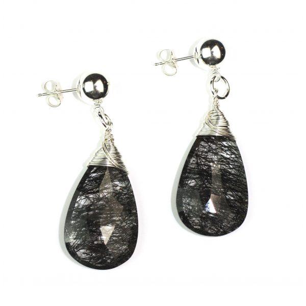 Black Tourmaline Teardrop Earrings-0