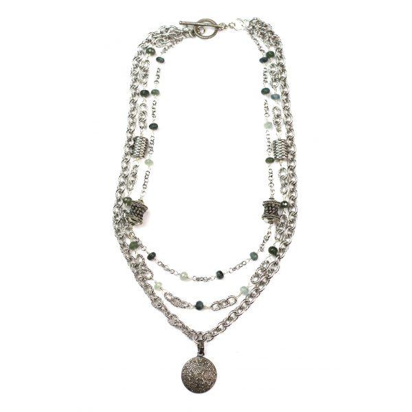 Rhodium Pave Diamond Cable Necklace-3795