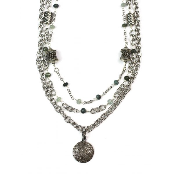Rhodium Pave Diamond Cable Necklace-0