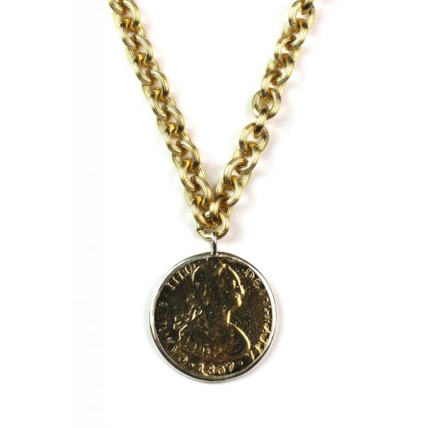 Long Gold Coin Necklace-0