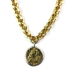 Short Gold Coin Necklace-0