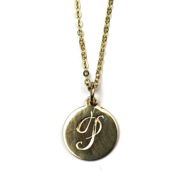 Small Initial Disc Necklace-3935