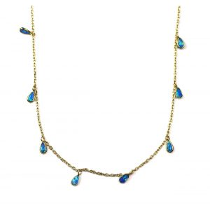 Blue Opal Dangle Chain Necklace-0