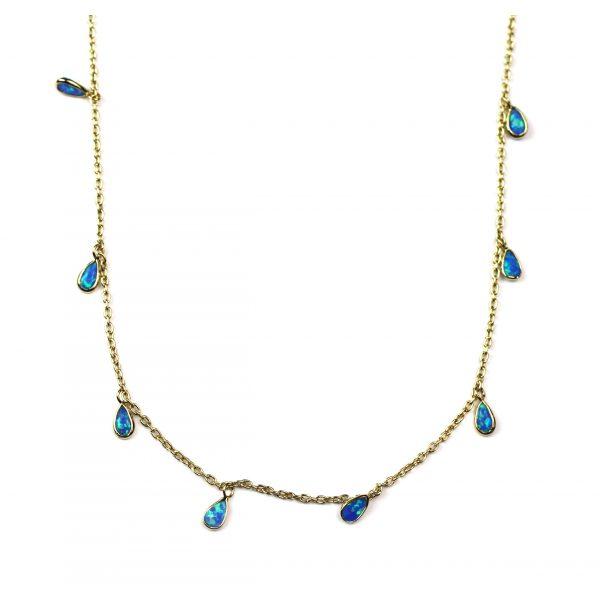Blue Opal Dangle Chain Necklace-0