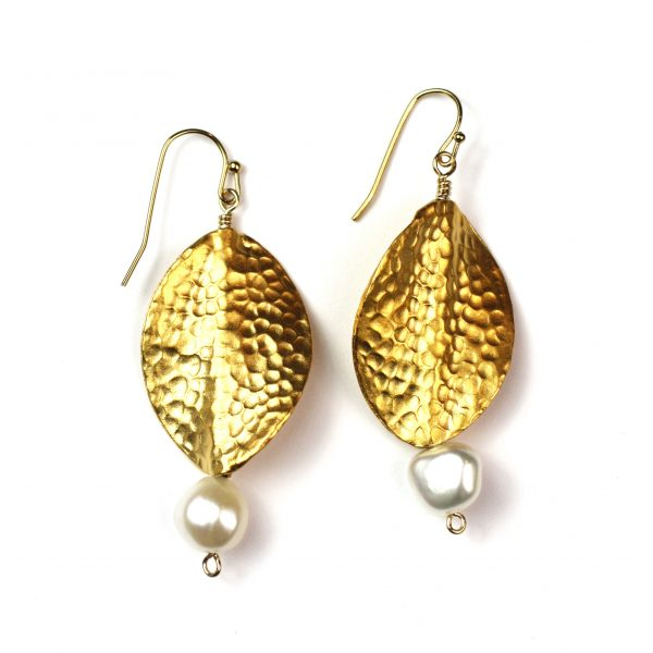 Large Hammered Oval Pearl Earrings-0