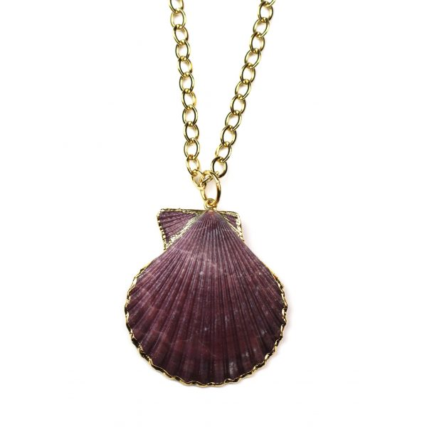 """32"""" Plum Shell Necklace-0"""