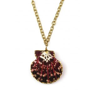 "32"" Marbled Raspberry Shell Necklace-0"