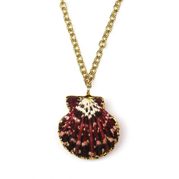 """32"""" Marbled Raspberry Shell Necklace-0"""