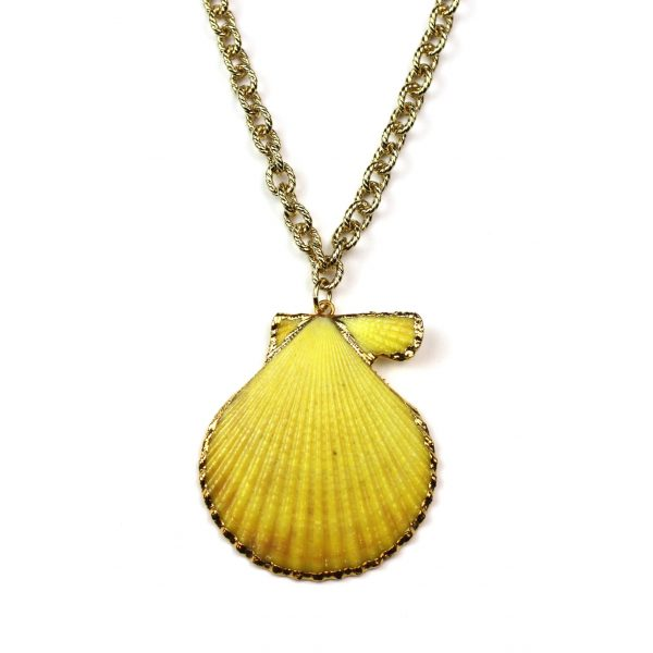 """21"""" Yellow Shell Necklace-0"""