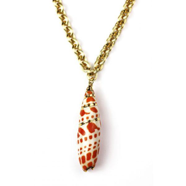 """32"""" Large Orange Mitra Shell Necklace-0"""