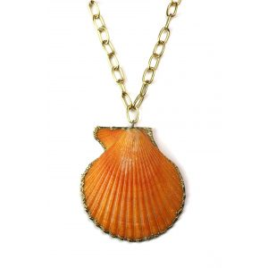 """34"""" Large Orange Shell Necklace-0"""