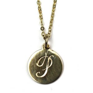 Large Initial Disc Necklace-0