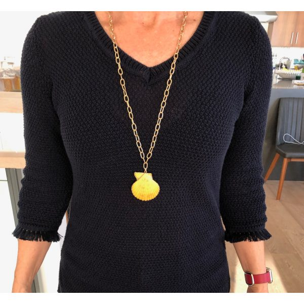 """Yellow 28"""" Shell Necklace"""