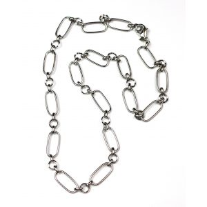 Long Safety Pin Necklace-0