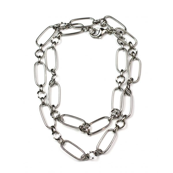Long Safety Pin Necklace-3993