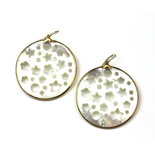 Large Star Mother of Pearl Earrings-0