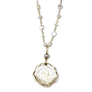White Rose Mother of Pearl Hand Linked Necklace-0