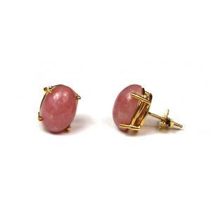 Pink Oval Serena Stud Earrings-0
