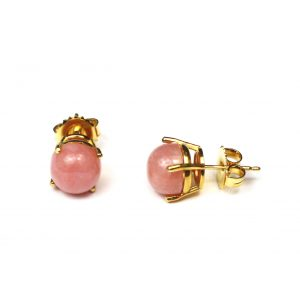 Pink Small Round Serena Stud Earrings-0