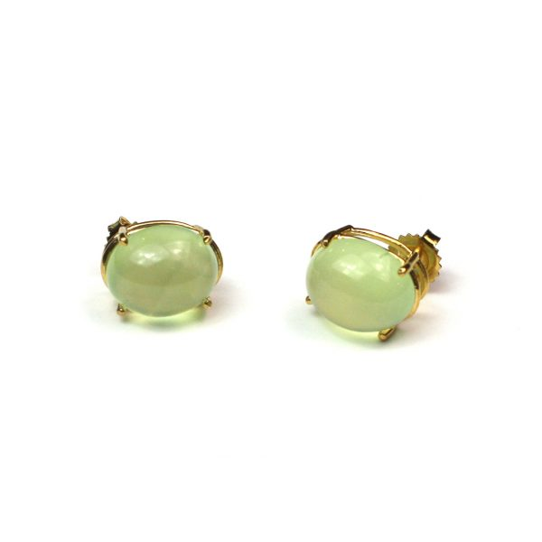 Green Oval Serena Stud Earrings-0
