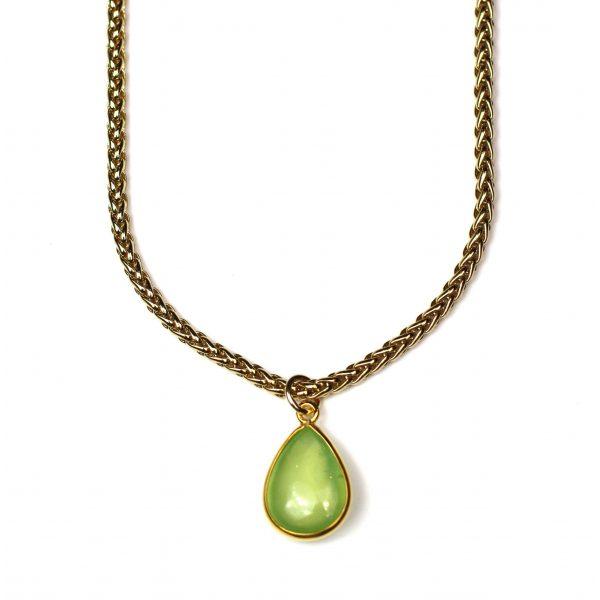 Green Prehnite Teardrop Chain Necklace-0