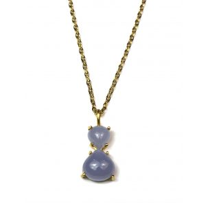 Double Blue Teardrop Necklace-0