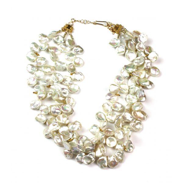 Triple Strand Keshi Pearl Necklace-0