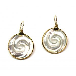 Small Wave Mother of Pearl Earrings-0