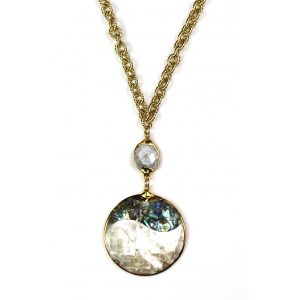 Gray Circle Mother of Pearl Necklace-0
