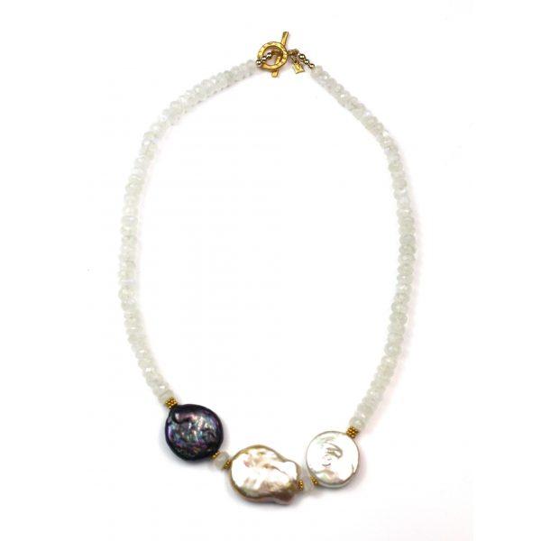 Petite Pearl Trio Necklace-0