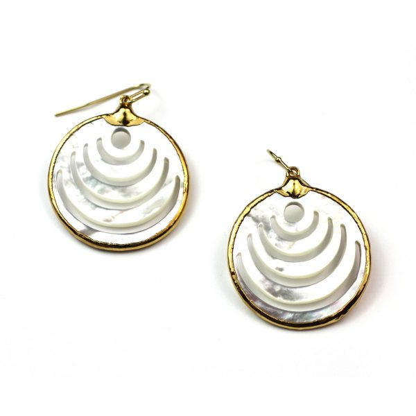 Medium Circle Mother of Pearl Earrings-0