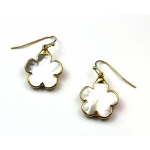 Small Flower Mother of Pearl Earrings-0