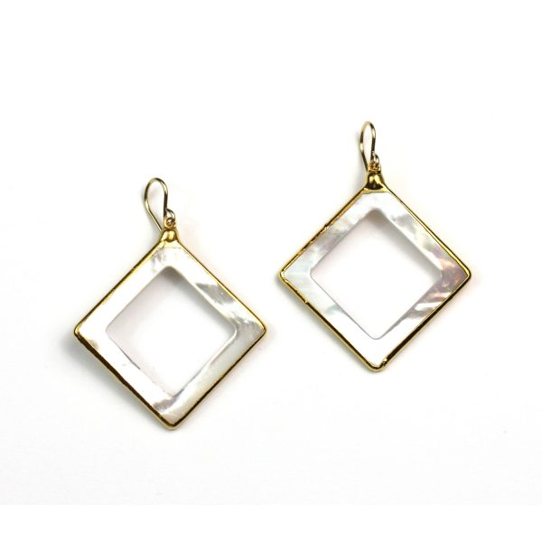 Open Diamond Mother of Pearl Earrings-0