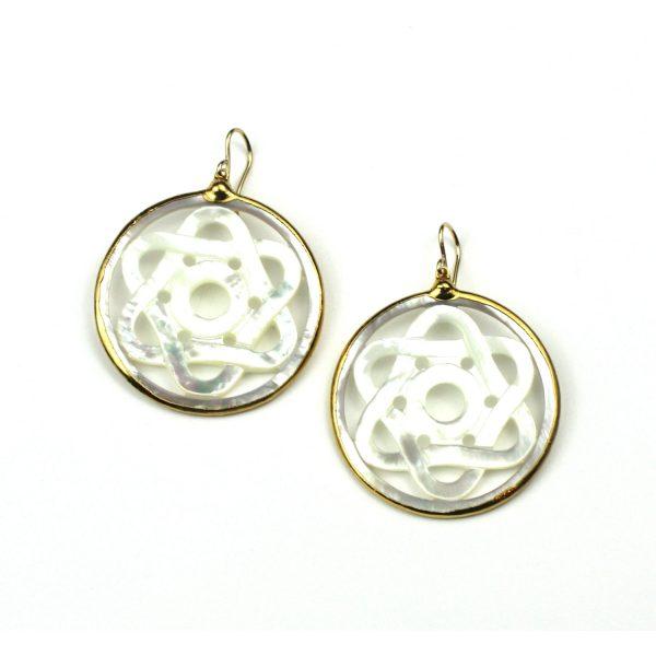 Celtic Star Mother of Pearl Earrings-0