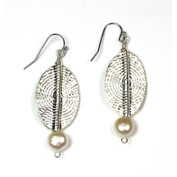 Oval Sunburst Pearl Earrings-3987
