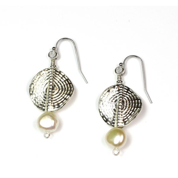 Circle Sunburst Pearl Earrings-3988