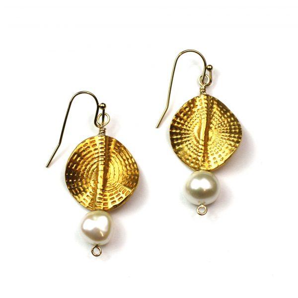 Circle Sunburst Pearl Earrings-0