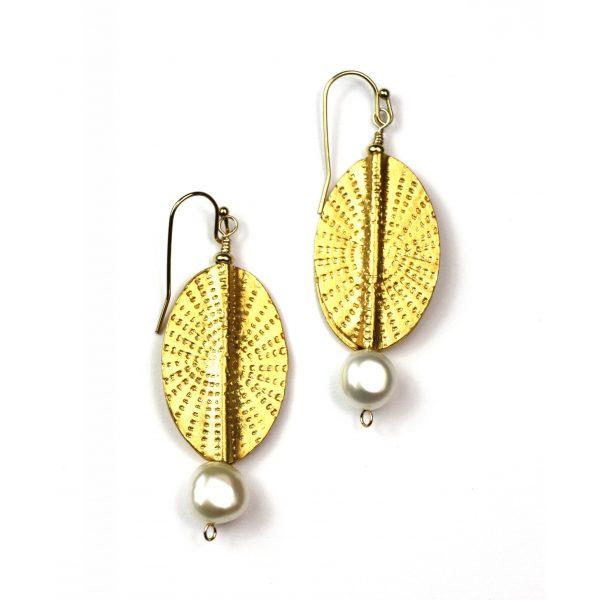 Oval Sunburst Pearl Earrings-0