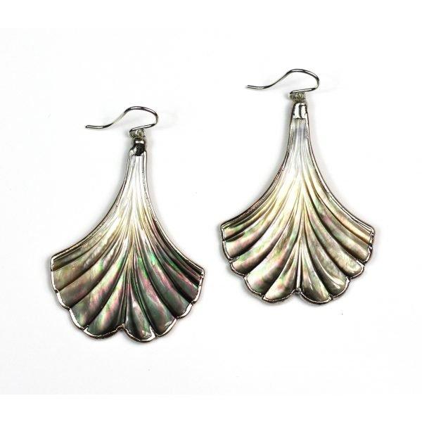 Silver Whale's Tale Abalone Earrings-0