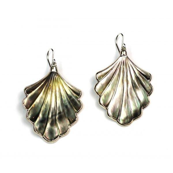 Silver Shell Abalone Earrings-0