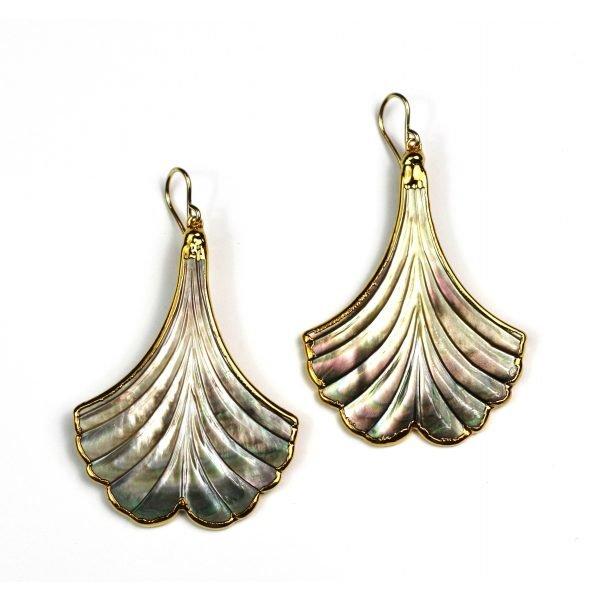 Gold Whale's Tale Abalone Earrings-0