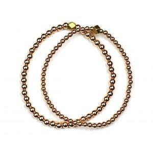Rose Gold Ball Stretch Ball Bracelet Set-0